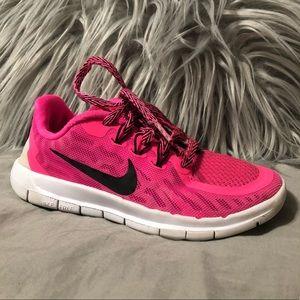 Nike free 5.0 running shoes hot pink girls youth 1